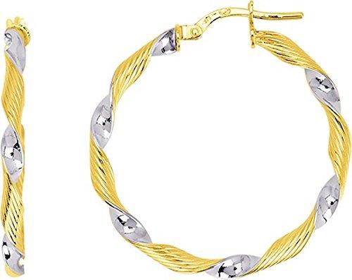 FAFA - Anneaux - Boucles d'Oreilles - Créoles - Or Bicolore - 18 carats - Diamètre 25 mm - www.diamants-perles.com