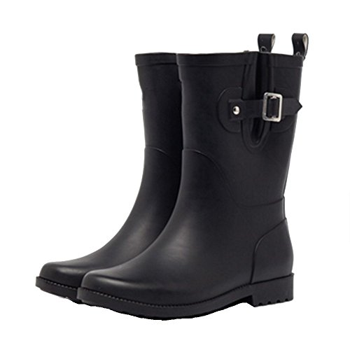 sexy Spring And Summer Matte Rubber Boots Fashion Waterproof Rubber Boots Adult Slip Water Shoes In The Tube Rain Boots Women (Color : Pink, Size : EU38/UK5.5/CN38) Black
