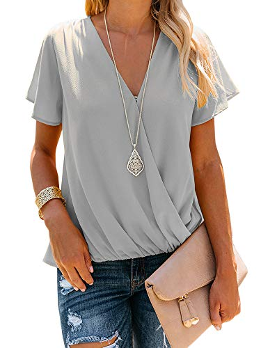 (Daomumen Women's Deep V-Neck Front Wrap Short Sleeve Chiffon T-Shirt Top Blouses)