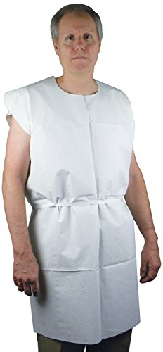 PDC Healthcare PP-320 Disposable Exam Gown with Poly Waist Ties, 3-Ply Tissue, 30'' x 42'', White (Pack of 50) by PDC Healthcare