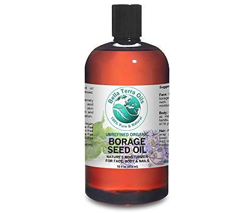 Borage Seed Oil 16 oz (GLA) 100% Pure Cold-pressed Unrefined PA-free Organic - Bella Terra Oils - Oils Borage Oil