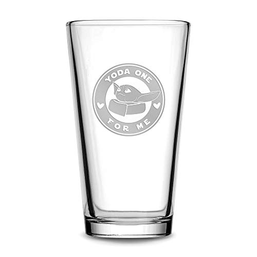 Integrity Bottles Premium Pint Glass, Baby Yoda One For Me, Circle – Etched Beer Glass, Cocktail, Scotch, Vodka, Old…