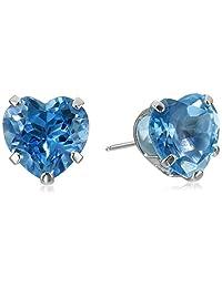 14k White Gold Heart Stud Earrings