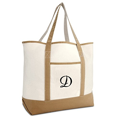 DALIX Women's Natural Tote Bag Shoulder Bags Brown With Monogram Letter D
