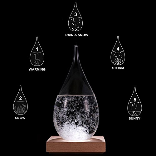 Amymami Storm Glass Weather Predictor, Christmas Decorations Gift,Creative Stylish Weather Station Forecaster Storm Glass Bottles Barometer with Wood Base, 6.8X 3.4X 3.4 inches by Amymami (Image #3)