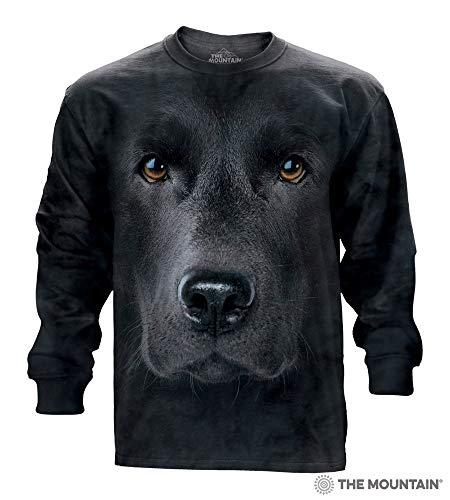 The Mountain Adult Long Sleeve T-Shirt - Black Lab Face S M