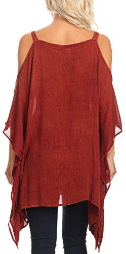 Sakkas 1803 - Ada Womens Stonewashed Cold Hombro Top Blusa Casual Bordada Suelta - Aqua - OS: Amazon.es: Ropa y accesorios
