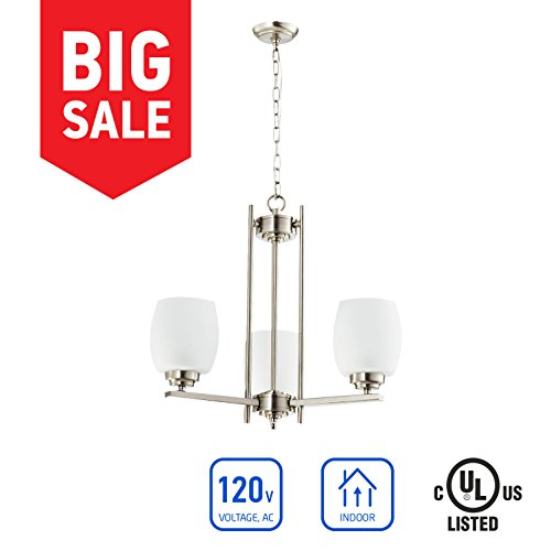 in Home 3-Light Chandelier CH38, Brushed Nickel Finish with Satin Etched Glass Shade, UL Listed