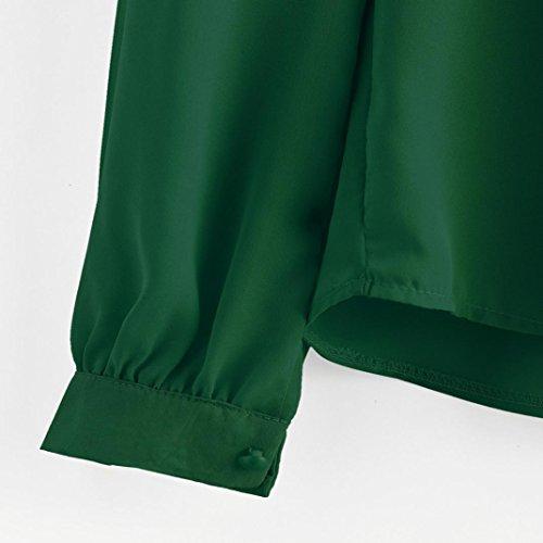 Mousseline Longues Chemise L Soie t Chemisier Femme Vert Plier de Malloom Hauts en lache Manches q71WIw