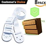 ShiChi Baby - 8 Pack - White - 300 LBS of Resistance - Furniture Anchors for Baby Proofing - Anti Tip Furniture Safety Kit - for Dressers, Bookcases, TVs, and Furniture