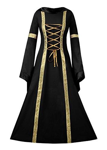 Aloe.W Women Medieval Dress Renaissance Lace Up Vintage Style Gothic Dress Floor Length Women Cosplay Dresses Retro Gown