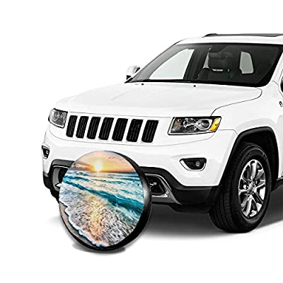 NELife Tire Cover Oceans Sunsets Waves Potable Polyester Universal Spare Wheel Tire Cover Wheel Covers for Jeep Trailer RV SUV Truck Camper Travel Trailer Accessories(14,15,16,17 Inch): Clothing