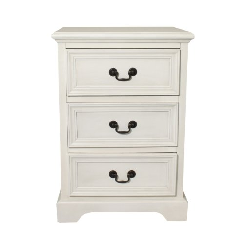 Urban Designs 3 Drawer Solid Wood Night Stand, Antiqued White