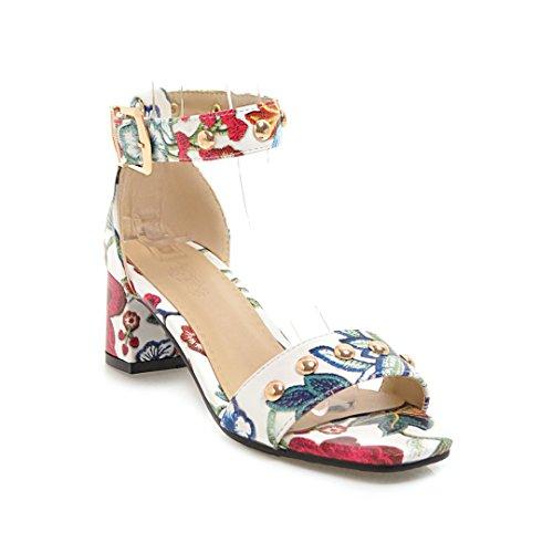 épais Femmes Sandales Romain Chaussures Ouvert avec Red Orteil Tête Carrée Sauvage Talon 47S8qS1