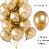 """50 Count 12"""" Pearl Party Gold Balloons Thick Metallic Latex Chrome Balloons Helium Balloons Decoration for Wedding Birthday Baby Shower Graduation Christmas Photograph Background (Gold) …"""