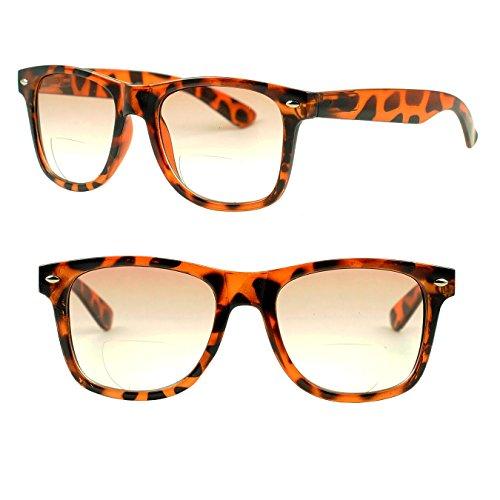 Wayfarer Magnification RX Strength Bifocal Glasses Gradient Tinted Lens Sunglasses +1.00D +1.50D +2.00D +2.50D +3.00D (Tortoise, 1.75 - Square Gradient Readers