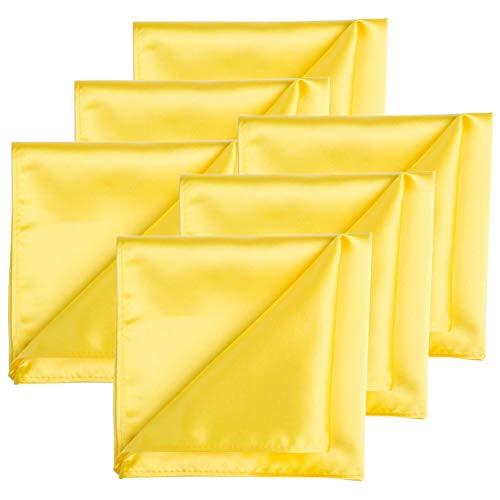 Satin Stylish Solid (KissTies 6 PCS Lemon Yellow Satin Pocket Square Solid Hankies Gift Set)