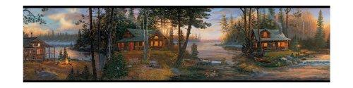 York Wallcoverings Lake Forest Lodge Cabin Fever Border, Multi Black Band
