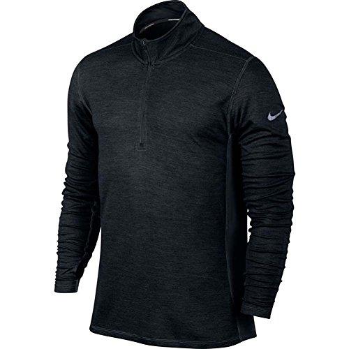 Nike Mens Dri-fit Wool 1/2 Zip Long Sleeve Running Shirt (Medium, Black)