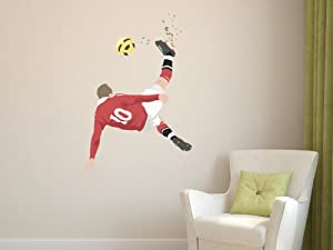 Manchester United Rooney Wall Overhead Kick Wall Sticker Decal Football Art  Print For Home Bedroom Mural (Red) Part 94