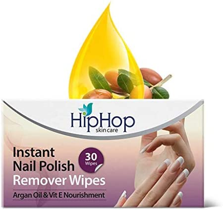 HipHop Instant Nail Polish Remover Wipes – Acetone & Acetate Free, 30 wipes (Pack of 2)