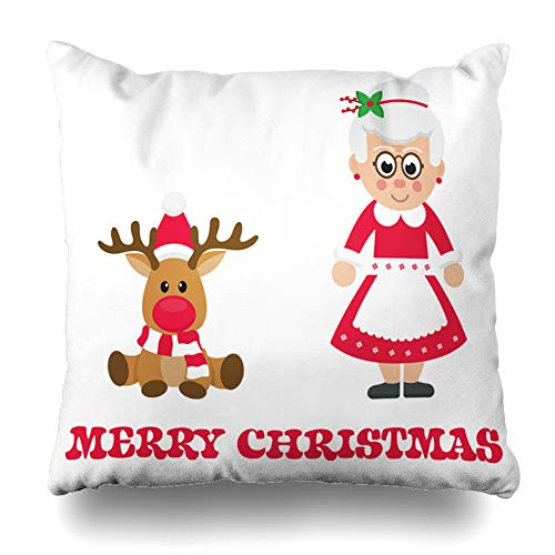 LALILO Throw Pillow Covers Cartoon Christmas Deer with Mrs Santa Claus Mrs Animal Card Cartoon Double-Sided Pattern for Sofa Cushion Cover Couch Decoration Home Bed Pillowcase 18x18 inch ()