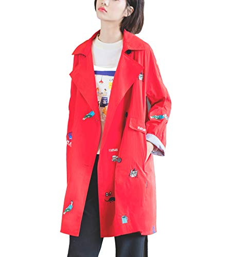 URLAZH Womens Embroidered Coat Lightweight Trench Coat Rain Jacket Windbreaker Longline Warm Parka Coat (12-14 (US) = L (Asia))