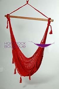 Savannah Extra Large XXL Chair Hammock NYLON Thick Cord woven, Red