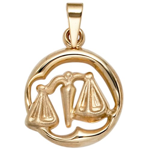 Signe du zodiaque balance jOBO pendentif en or jaune 375 partiellement dépoli