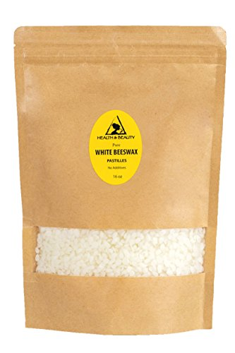 White Beeswax Bees Wax Organic by H&B OILS CENTER Pastilles Beads Premium Prime Grade A 100% Pure 16 oz, 1 LB (Wax Candle Organic)