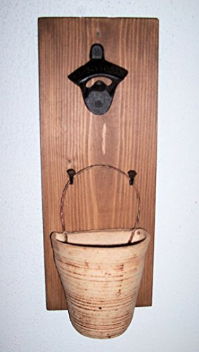 """ABC Products"" - Wood Board Bottle Opener - Old Vintage Design - Rustic Clay Bucket Cap Catcher - With A Oblong Stress White Opener - (Board Walnut Stained - Cap Catcher Is Aged Stone Color)"