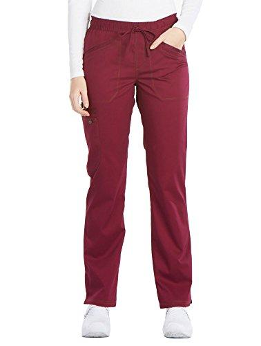 - Dickies Women's Essense Mid Rise Straight Leg Drawstring Pant, Wine, X-Small Petite