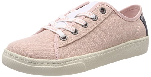 Pink 646 Tommy Rose Hilfiger Textile Damen Sneaker Jeans Cloud Light Denim Low wfPEf8