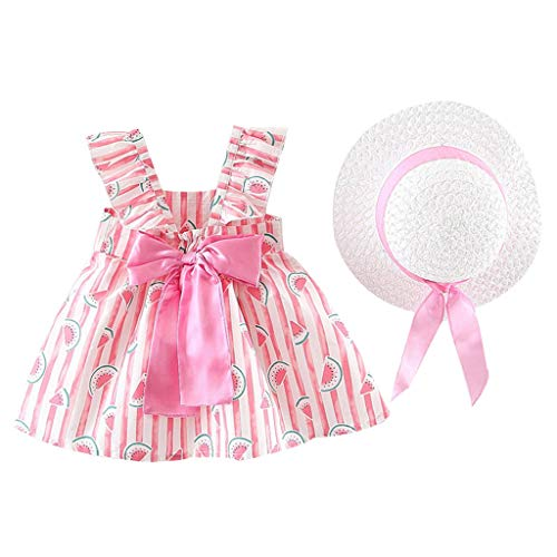 Yaseking Girls Summer Casual Dress, Sleeveless Sling Boho Floral Printed Ruffle Princess Dress Clothes with Hat (100/11/12, Pink)