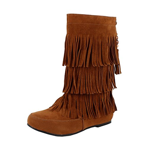West Blvd Womens LIMA MOCCASIN Boots 3-Layer Fringe Tribal Indian Winter Faux Suede Leather Shoes ,Tan Su ,9 (Indian Boots)