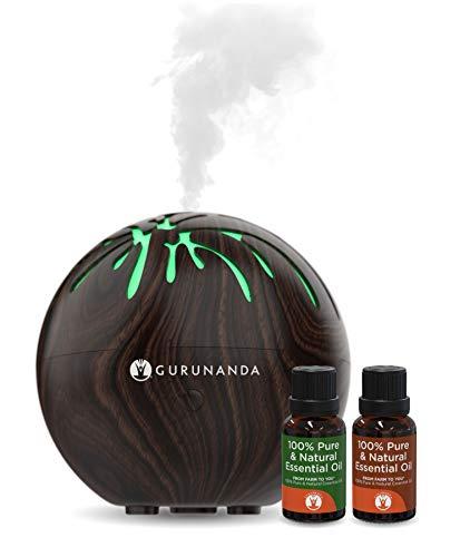 Essential Oils Starter Kit - Mini Tree Ultrasonic Diffuser - Aromatherapy Best Oil Diffuser - Color Changing, Humidifier, Essential Oils Set, Auto Shutoff, GuruNanda (Darkwood)