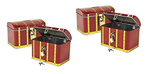 Oriental Trading Metal Pirate Treasure Chest with Lock (2-Pack) ]()