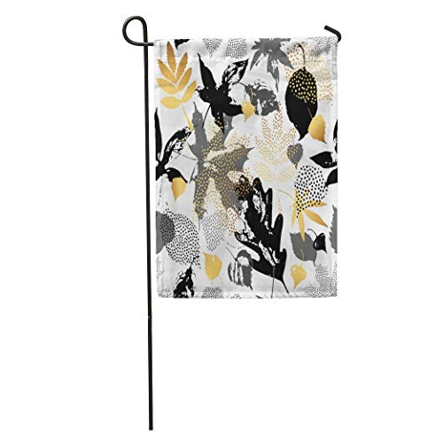 - Andrea Back Garden Flag Autumn Leaves Leaf Silhouettes Doodle Scribble Natural in Golden Monochrome Home Yard House Decor Barnner Outdoor Stand 12x18 Inches Flag