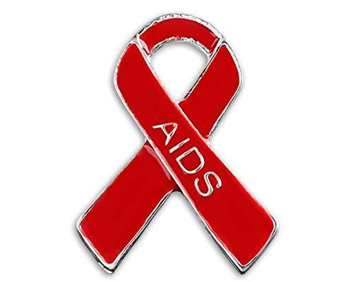 10 Pack Red Ribbon AIDS/HIV Awareness Pins in a Bag (10 Pins Individually Bagged)