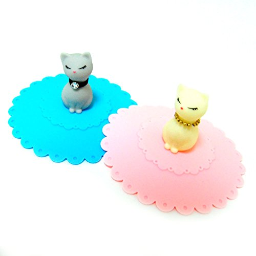 Couples Gift ; Cute Cats Lid Watertight Dust Leakproof Silicone Cup Lid Cover Mug Cap Block Coffee and Tea Cup ; 2PCS
