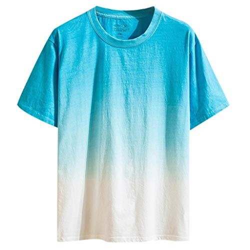 Beautyfine Summer Short Sleeve Shirts Men's Casual Coloured Gradually Changing Tops Light Blue]()