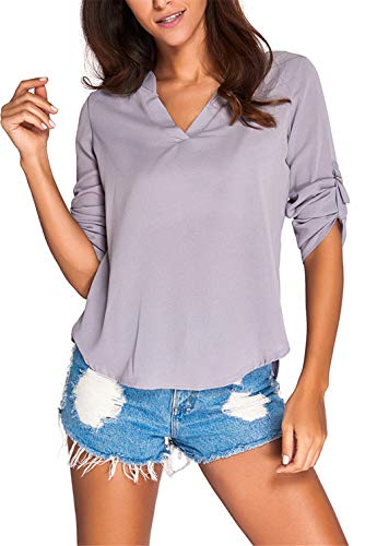 Dokotoo Womens Casual Chiffon Ladies V-Neck Cuffed Sleeve Blouse Tops XX-Large Gray,Gray,(US18-20)XXL