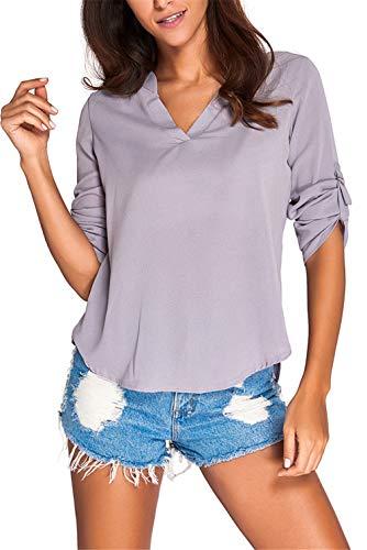 Beaded V-neck Blouse - Dokotoo Womens Casual Chiffon Ladies V-Neck Cuffed Sleeve Blouse Tops XX-Large Gray,Gray,(US18-20)XXL