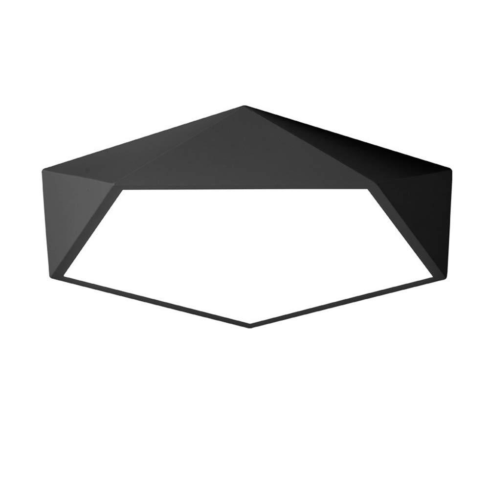 TopDeng Modern Nordisch Deckenlampe Schwarz, LED 36W Erröten-einfassung Fest verdrahtet Deckenleuchte Mit Acryl Eisen Für Schlafzimmer Wohnzimmer Küche-Dreifarbiges Licht 50cm-36W