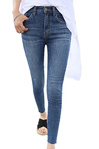 yulinge Las Mujeres De Cintura Alta Pantalones Largos Tobillo Denim Jeans Plus Size Azul