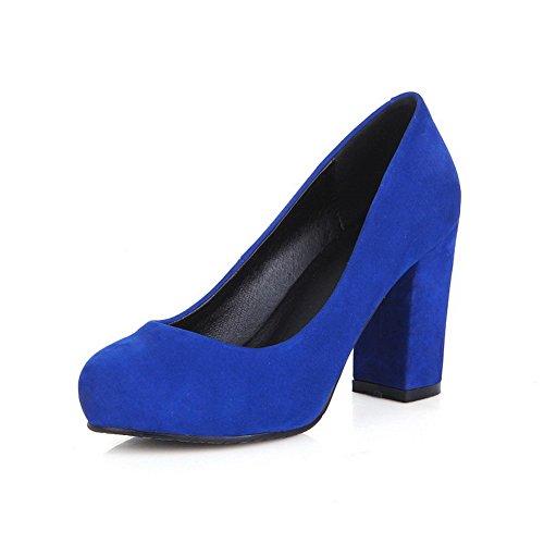Chiusa Punta Donne Alti Mucca Di Pompe Blu Rotonda Delle scarpe Pelle Delle Smerigliato satinato Tacchi Amoonyfashion qC8YwRn