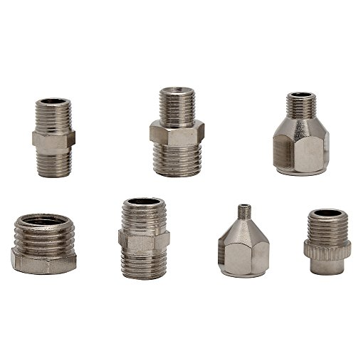 HUBEST 7 pcs of airbrush adaptor set airbrush fitting airbrush connector kit for air compressor & airbrush (Best Connector For Airbrush Hoses)