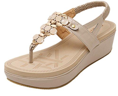 Ommda Women's Summer Thong Wedge Sandals Platform Beige kd4JZFp6H6