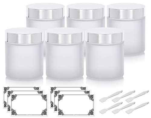 Frosted Clear Thick Glass Straight Sided Jar with Silver Metal Overshell Lid - 4 oz / 120 ml (6 pack) + Spatulas and Labels