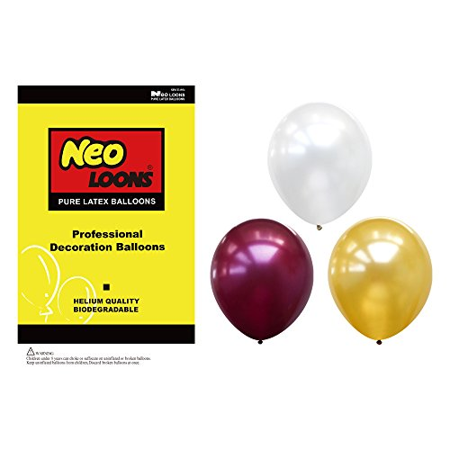 Neo LOONS 10 Inch Pearl White & Gold & Burgundy Color Natural Latex Balloons for Party Decoration 30 Pcs/lot ()